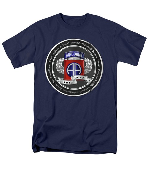 Men's T-Shirt  (Regular Fit) featuring the digital art 82nd Airborne Division 100th Anniversary Medallion Over Blue Velvet by Serge Averbukh