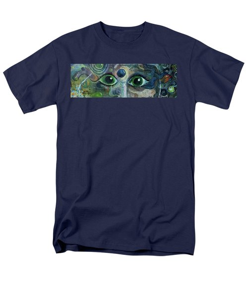 Men's T-Shirt  (Regular Fit) featuring the painting A Astronaut Dreams Of Her Infinite Cosmos by Jame Hayes