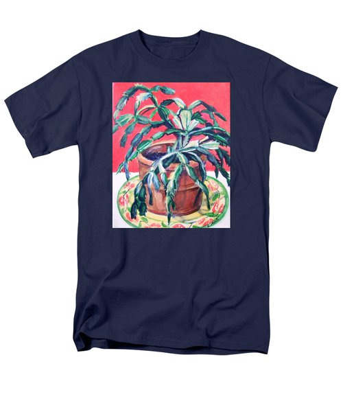 Men's T-Shirt  (Regular Fit) featuring the painting Christmas Cactus by Laura Aceto