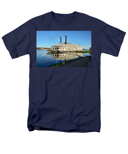 American Queen Steamboat Reflections On The Mississippi River Men's T-Shirt  (Regular Fit) by David Lawson