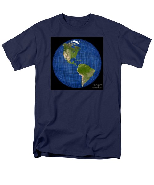 Americas On A Globe The Western Hemisphere Men's T-Shirt  (Regular Fit) by Wernher Krutein