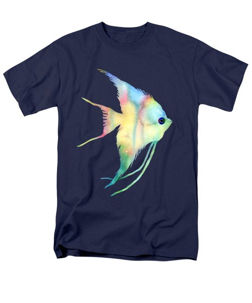 Men's T-Shirt  (Regular Fit) featuring the painting Angelfish I - Solid Background by Hailey E Herrera