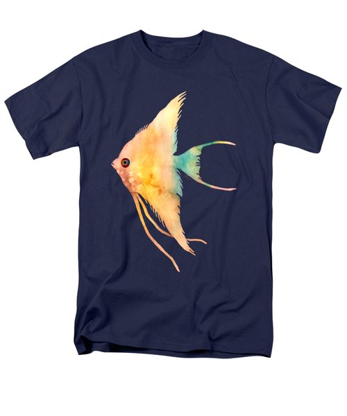 Men's T-Shirt  (Regular Fit) featuring the painting Angelfish II - Solid Background by Hailey E Herrera