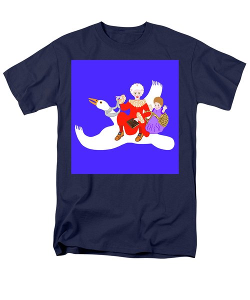 Mother Goose On Her Flying Goose Men's T-Shirt  (Regular Fit) by Marian Cates