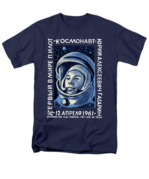 1961 First Man In Space, Yuri Gagarin Men's T-Shirt  (Regular Fit) by Historic Image