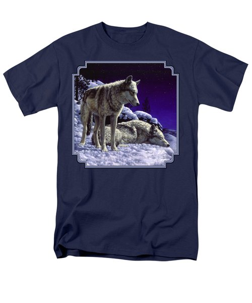 Wolf Painting - Night Watch Men's T-Shirt  (Regular Fit) by Crista Forest