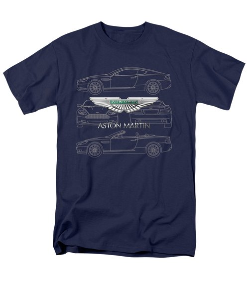 Aston Martin 3 D Badge Over Aston Martin D B 9 Blueprint Men's T-Shirt  (Regular Fit) by Serge Averbukh