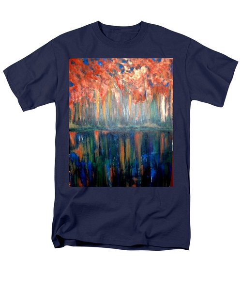 Men's T-Shirt  (Regular Fit) featuring the painting Autumn Reflections by Rae Chichilnitsky