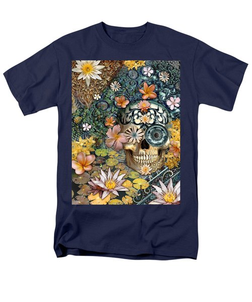 Bali Botaniskull - Floral Sugar Skull Art Men's T-Shirt  (Regular Fit) by Christopher Beikmann