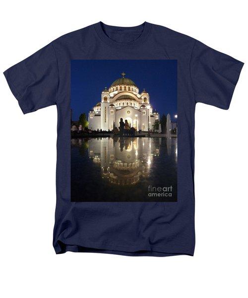 Men's T-Shirt  (Regular Fit) featuring the photograph Belgrade Serbia Orthodox Cathedral Of Saint Sava  by Danica Radman