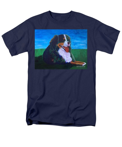 Men's T-Shirt  (Regular Fit) featuring the painting Bernese Mtn Dog Resting On The Grass by Donald J Ryker III