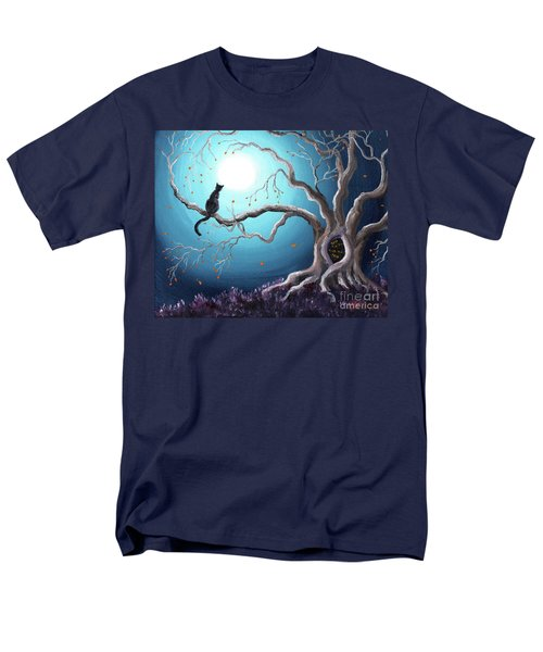 Black Cat In A Haunted Tree Men's T-Shirt  (Regular Fit) by Laura Iverson