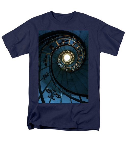 Men's T-Shirt  (Regular Fit) featuring the photograph Blue And Golden Spiral Staircase by Jaroslaw Blaminsky