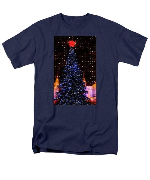 Blue Christmas Tree Men's T-Shirt  (Regular Fit) by John Wartman