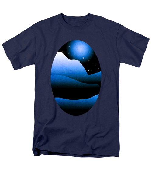 Blue Moon Mountain Landscape Art Men's T-Shirt  (Regular Fit) by Christina Rollo