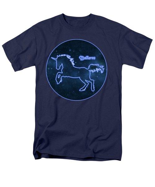 Blue Neon Light Unicorn Text Believe Men's T-Shirt  (Regular Fit) by Elaine Plesser