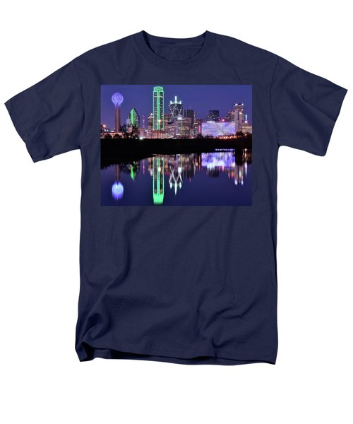Men's T-Shirt  (Regular Fit) featuring the photograph Blue Night And Reflections In Dallas by Frozen in Time Fine Art Photography