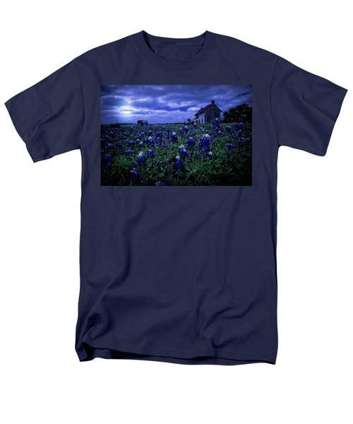 Men's T-Shirt  (Regular Fit) featuring the photograph Bluebonnets In The Blue Hour by Linda Unger
