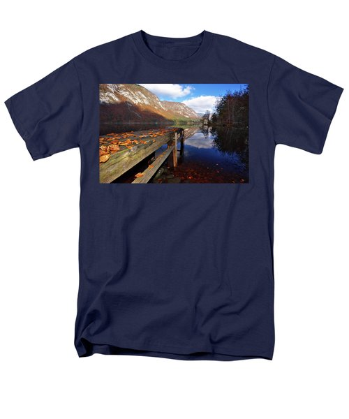 Boat Mooring At Lake Bohijn Men's T-Shirt  (Regular Fit) by Graham Hawcroft pixsellpix