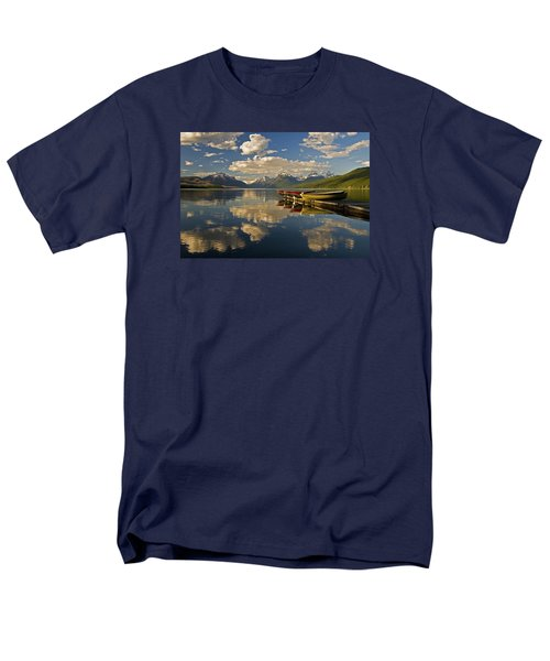 Men's T-Shirt  (Regular Fit) featuring the photograph Boats At Lake Mcdonald by Gary Lengyel