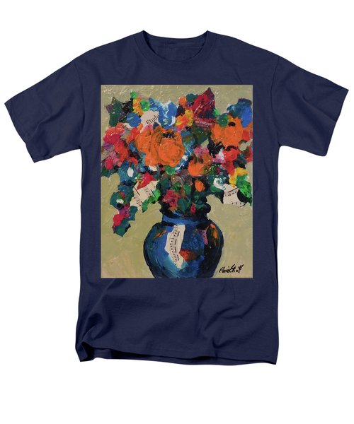 Men's T-Shirt  (Regular Fit) featuring the painting Bouquet-a-day #8 Original Mixed Media Painting On Canvas 70.00 Incl Shipping By Elaine Elliott by Elaine Elliott