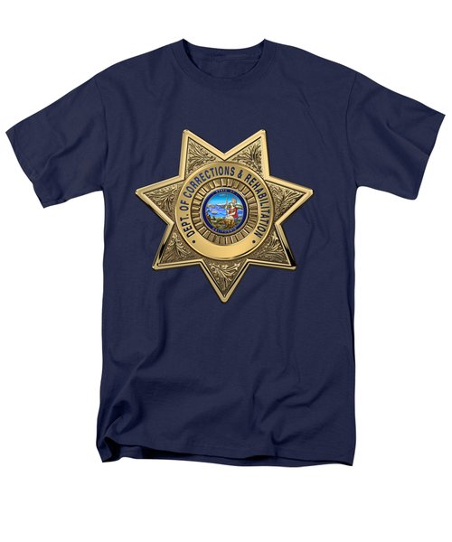 Men's T-Shirt  (Regular Fit) featuring the digital art California Department Of Corrections And Rehabilitation - C D C R  Officer Badge Over Blue Velvet by Serge Averbukh
