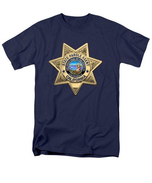 California State Parole Agent Badge Over Blue Velvet Men's T-Shirt  (Regular Fit) by Serge Averbukh