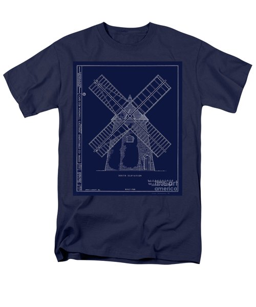 Men's T-Shirt  (Regular Fit) featuring the photograph Historic Cape Cod Windmill Blueprint by John Stephens
