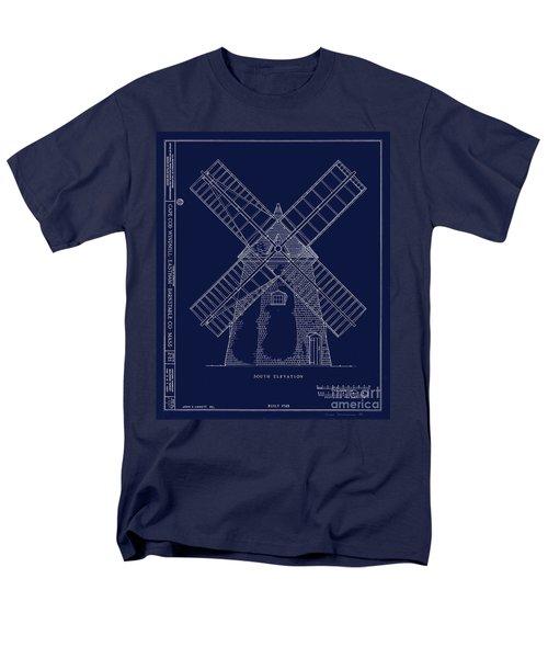 Historic Cape Cod Windmill Blueprint Men's T-Shirt  (Regular Fit) by John Stephens