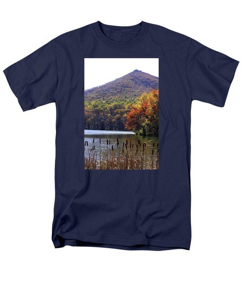 Men's T-Shirt  (Regular Fit) featuring the photograph Cattails By Lake With Sharp Top In Background by Emanuel Tanjala