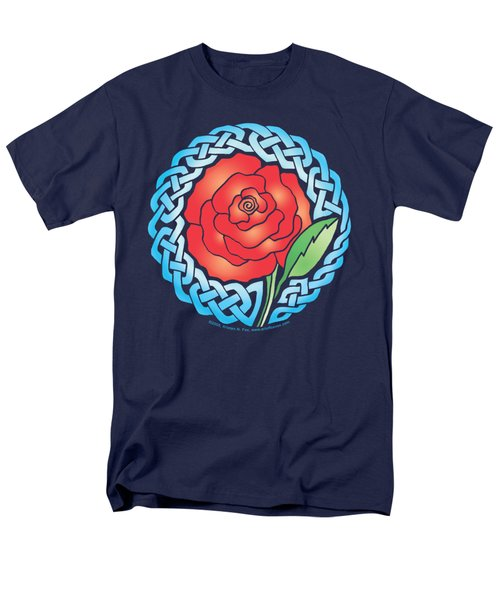 Men's T-Shirt  (Regular Fit) featuring the mixed media Celtic Rose Stained Glass by Kristen Fox