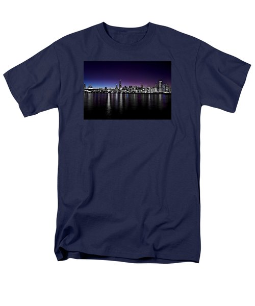 Men's T-Shirt  (Regular Fit) featuring the photograph Chicago Skyline Bnw With Blue-purple by Richard Zentner