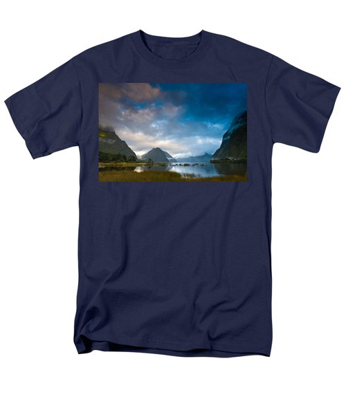 Cloudy Morning At Milford Sound At Sunrise Men's T-Shirt  (Regular Fit) by Ulrich Schade