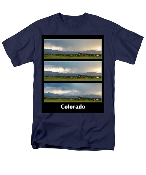 Men's T-Shirt  (Regular Fit) featuring the photograph Colorado Front Range Longs Peak Lightning And Rain Poster by James BO Insogna