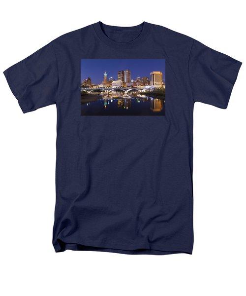 Men's T-Shirt  (Regular Fit) featuring the photograph Columbus Skyline Reflection by Alan Raasch
