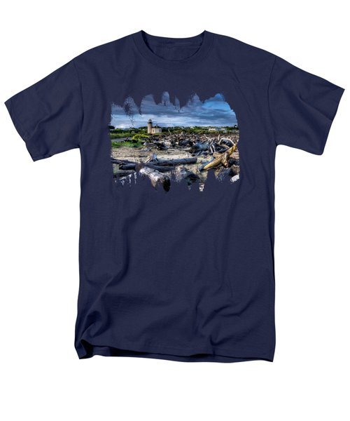 Coquille River Lighthouse And Driftwood Men's T-Shirt  (Regular Fit) by Thom Zehrfeld