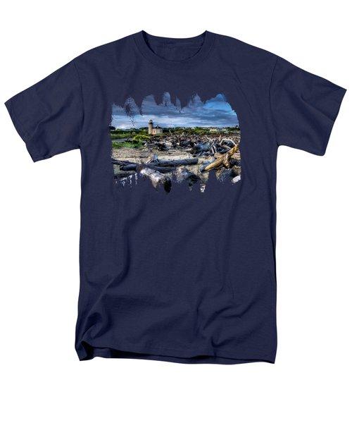 Coquille River Lighthouse And Driftwood Men's T-Shirt  (Regular Fit)