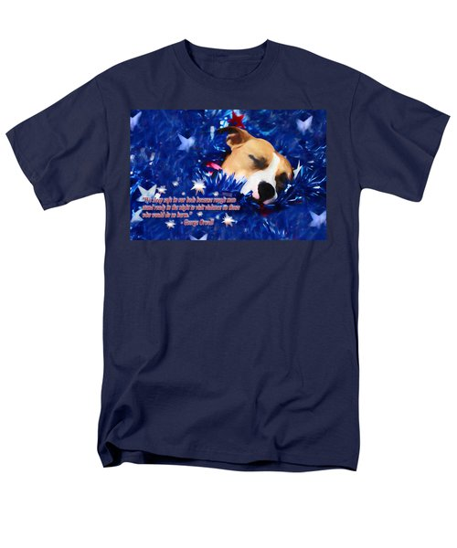 Men's T-Shirt  (Regular Fit) featuring the photograph Cradled By A Blanket Of Stars And Stripes - Quote by Shelley Neff