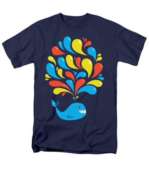 Dark Colorful Splash Happy Cartoon Whale Men's T-Shirt  (Regular Fit)