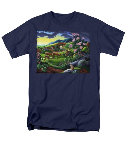 Deer Chipmunk Summer Appalachian Folk Art - Rural Country Farm Landscape - Americana  Men's T-Shirt  (Regular Fit)