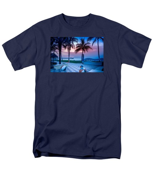 Deerfield Beach Fl Fishing Pier Men's T-Shirt  (Regular Fit) by Louis Ferreira