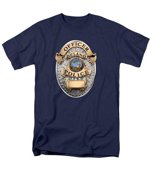 Men's T-Shirt  (Regular Fit) featuring the digital art Delano Police Department - Officer Badge Over Blue Velvet by Serge Averbukh