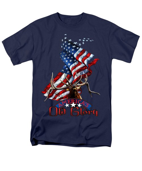 Elk Old Glory Men's T-Shirt  (Regular Fit) by Rob Corsetti