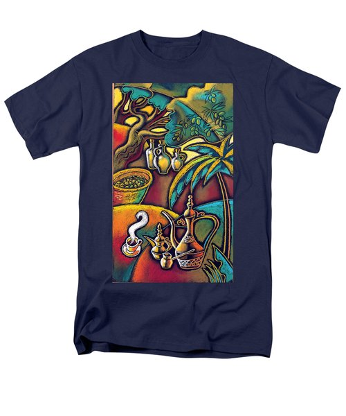 Men's T-Shirt  (Regular Fit) featuring the painting Exotic East, Coffee And Olive Oil by Leon Zernitsky