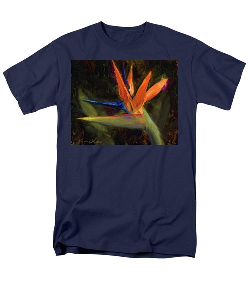 Men's T-Shirt  (Regular Fit) featuring the painting Extravagance - Tropical Bird Of Paradise Flower by Karen Whitworth