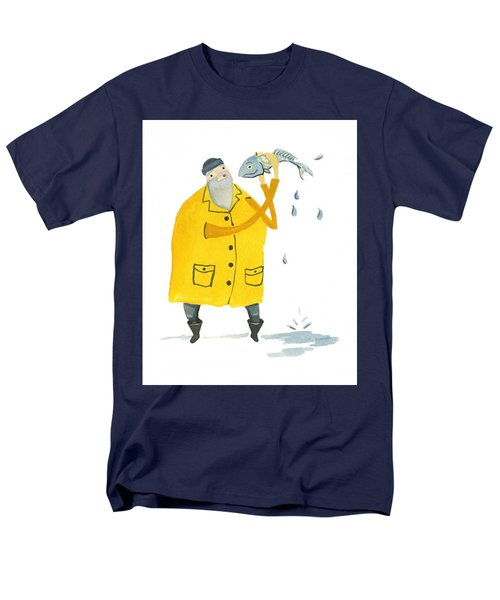 Men's T-Shirt  (Regular Fit) featuring the painting Fisherman by Leanne WILKES