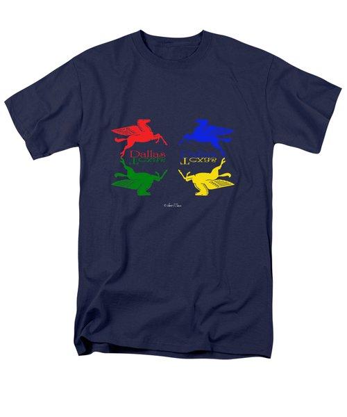 Flying Red Green Blue Yellow Horse Dallas Texas Reflections Men's T-Shirt  (Regular Fit) by Robert J Sadler