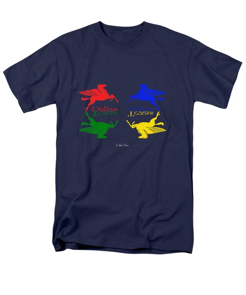 Flying Red Green Blue Yellow Horse Dallas Texas Reflections Men's T-Shirt  (Regular Fit)