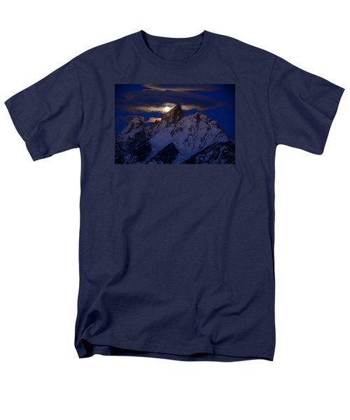 Full Moon Sets Over The Grand Teton Men's T-Shirt  (Regular Fit) by Raymond Salani III