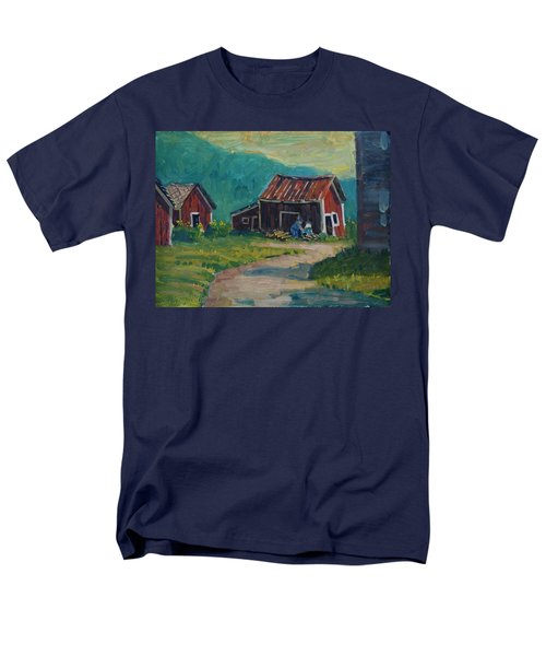 Men's T-Shirt  (Regular Fit) featuring the painting Getting Ready For Winter by Len Stomski